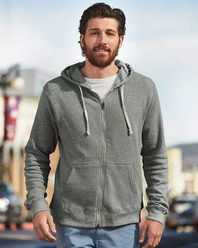 J. America 8872 Triblend Hooded Full-Zip Sweatshirt
